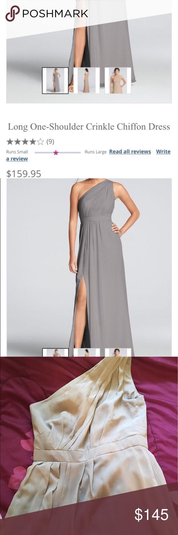 Long oneshoulder crinkle chiffon dress