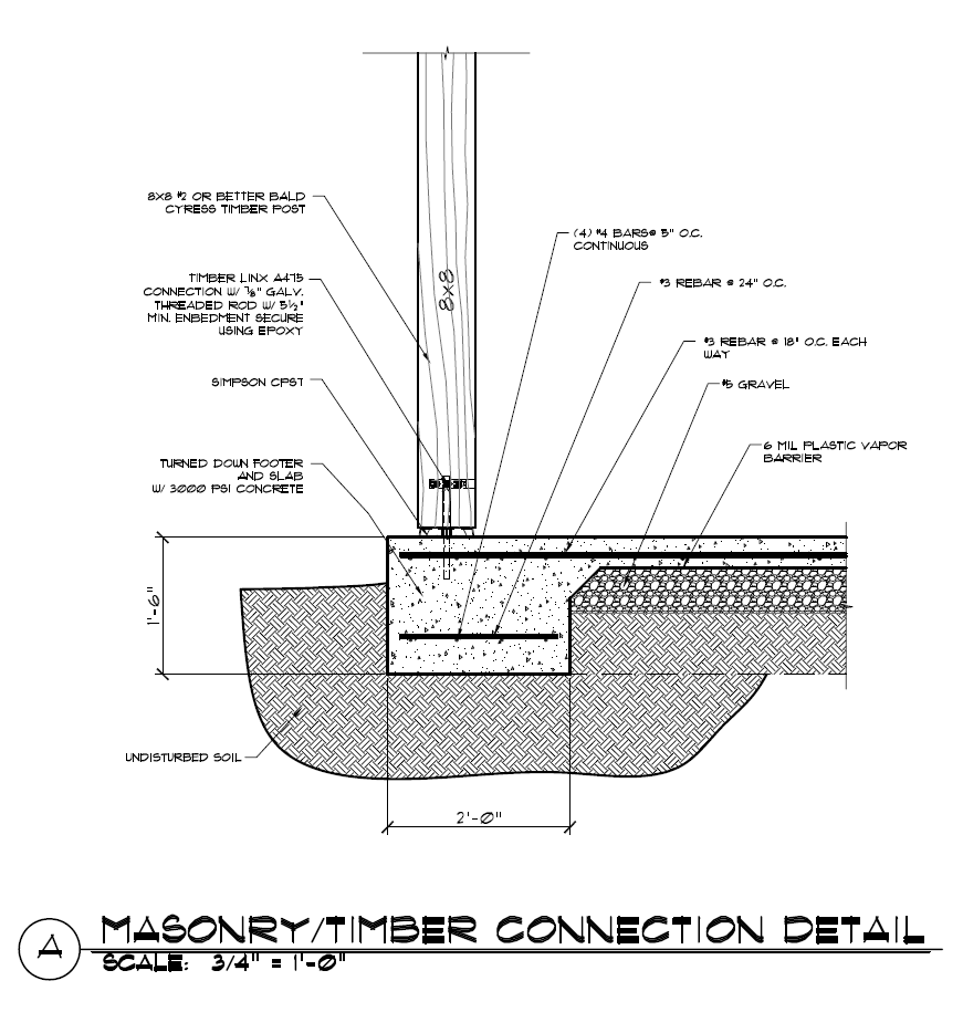 Masonry And Post Connection Detail Timber Frame Hq Timber Frame Construction Timber Architecture Timber Framing