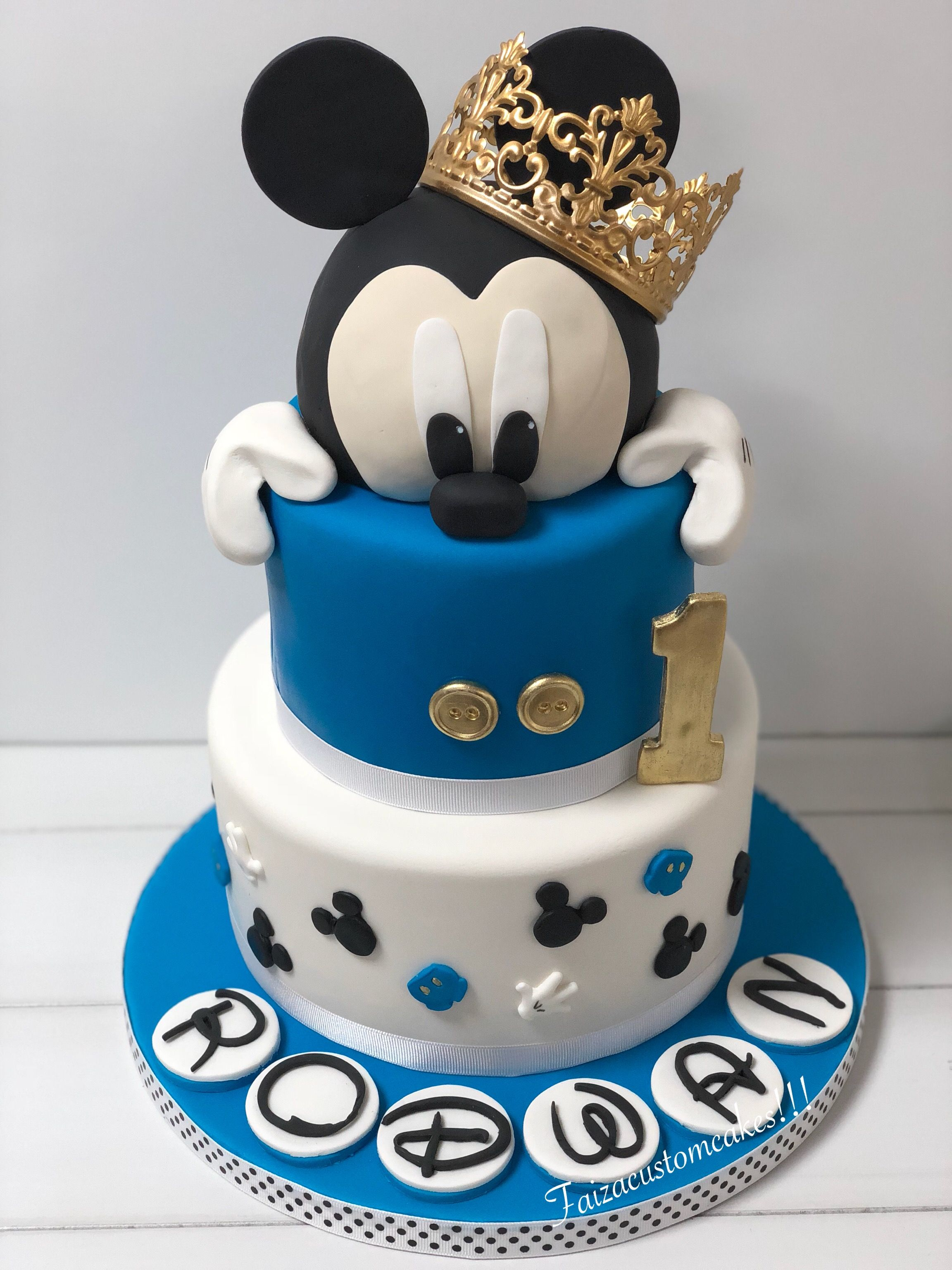 Mickey Mouse 1st Birthday Cake 💙💛💙💛 1st Birthday Cake