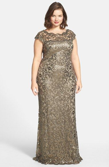 Tadashi Shoji Sequin Lace Gown (Plus Size) available at #Nordstrom ...
