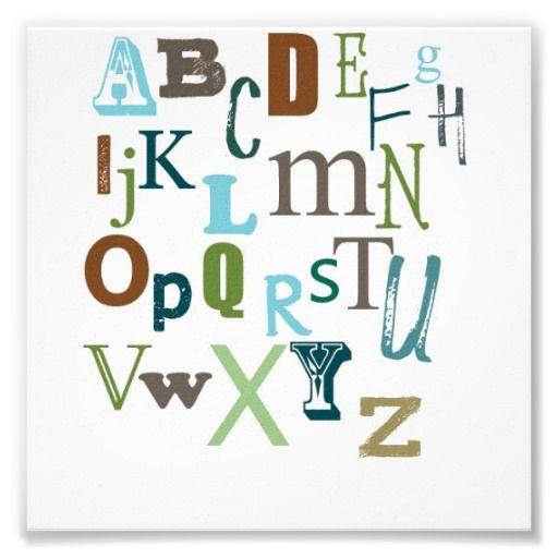 Boy's Alphabet-Typography Print #nurseryroom #zazzle #walldecor #nurseryposter #alphabet