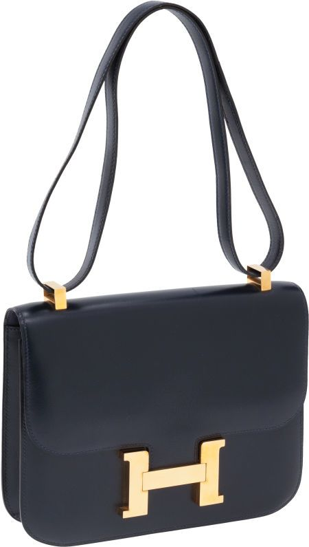 Hermes 23cm Navy Calf Box Leather Constance Bag with Gold Hardware