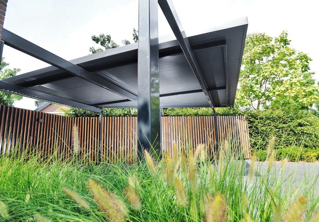 Exclusieve tuin moderne tuin strakke overkapping tuinontwerp
