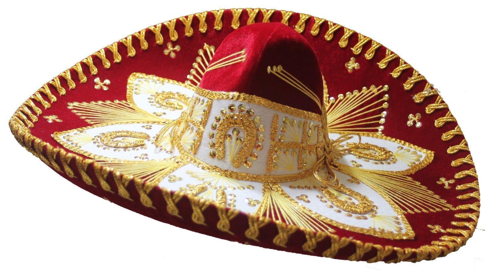 24f125ef97b85 Adult Mexican Mariachi Hat Sombrero Charro Cinco de Mayo Red Gold in ...