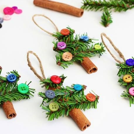 Pine Cone Crafts   Find out easy it is to make these cinnamon stick tree ornaments! http ...