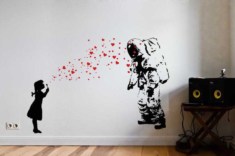 Wandtattoo Astronaut Heart Bubble Love Streetart Wandtattoo Etsy Banksy Wall Art Love Wall Art Decal Wall Art