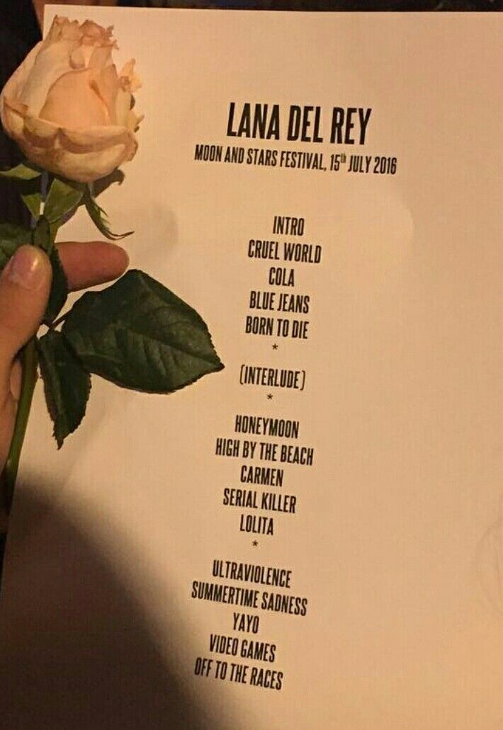 Lana Del Rey setlist for the Moon & Stars Festival #LDR