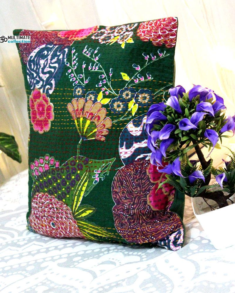 Green floral decorative pillow in decorative pillow