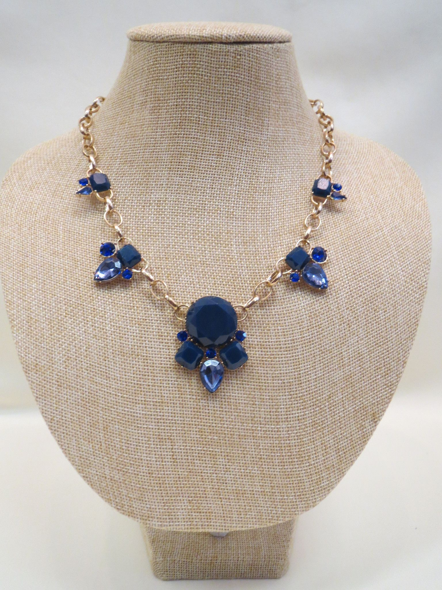ADO | Blue Crystal Gold Chain Necklace