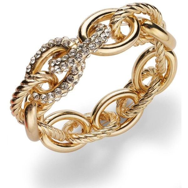 Inc International Concepts Rose Pave Link Stretch Bracelet featuring polyvore, women's fashion, jewelry, bracelets, accessories, gold, rose bangle, rose gold tone jewelry, gold tone jewelry, pave bangle and twist jewelry