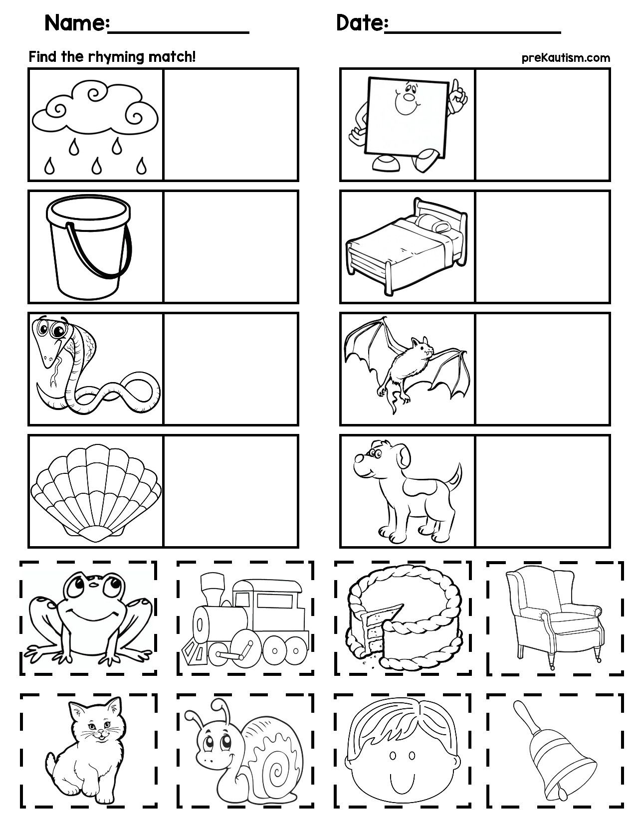 Rhyming Worksheets For Kindergarten In