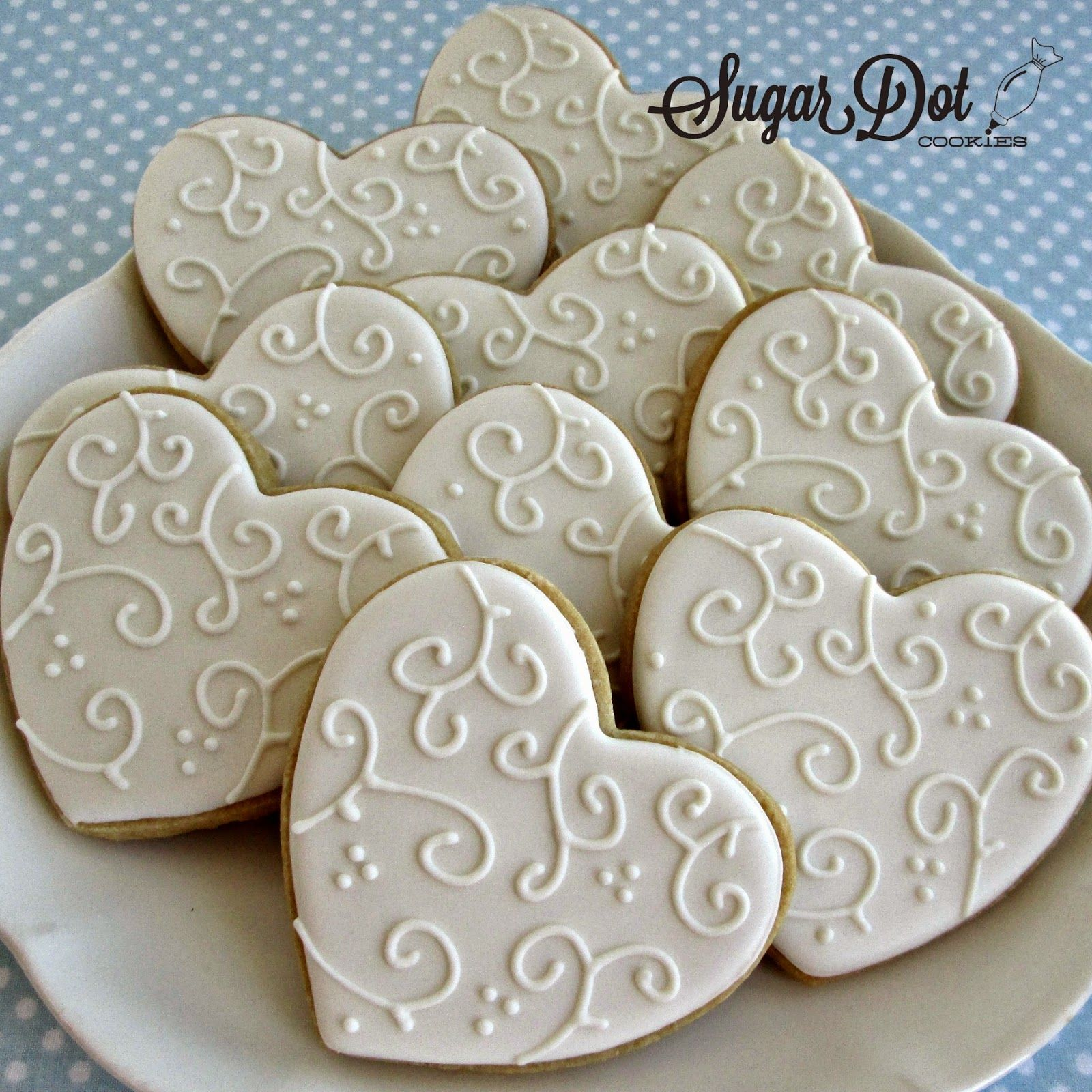 White On White Heart Sugar Cookies Valentine Sugar Cookies