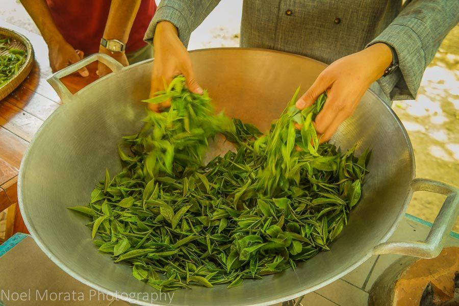 hojas de té tostado en seco y manual de giro de un wok caliente
