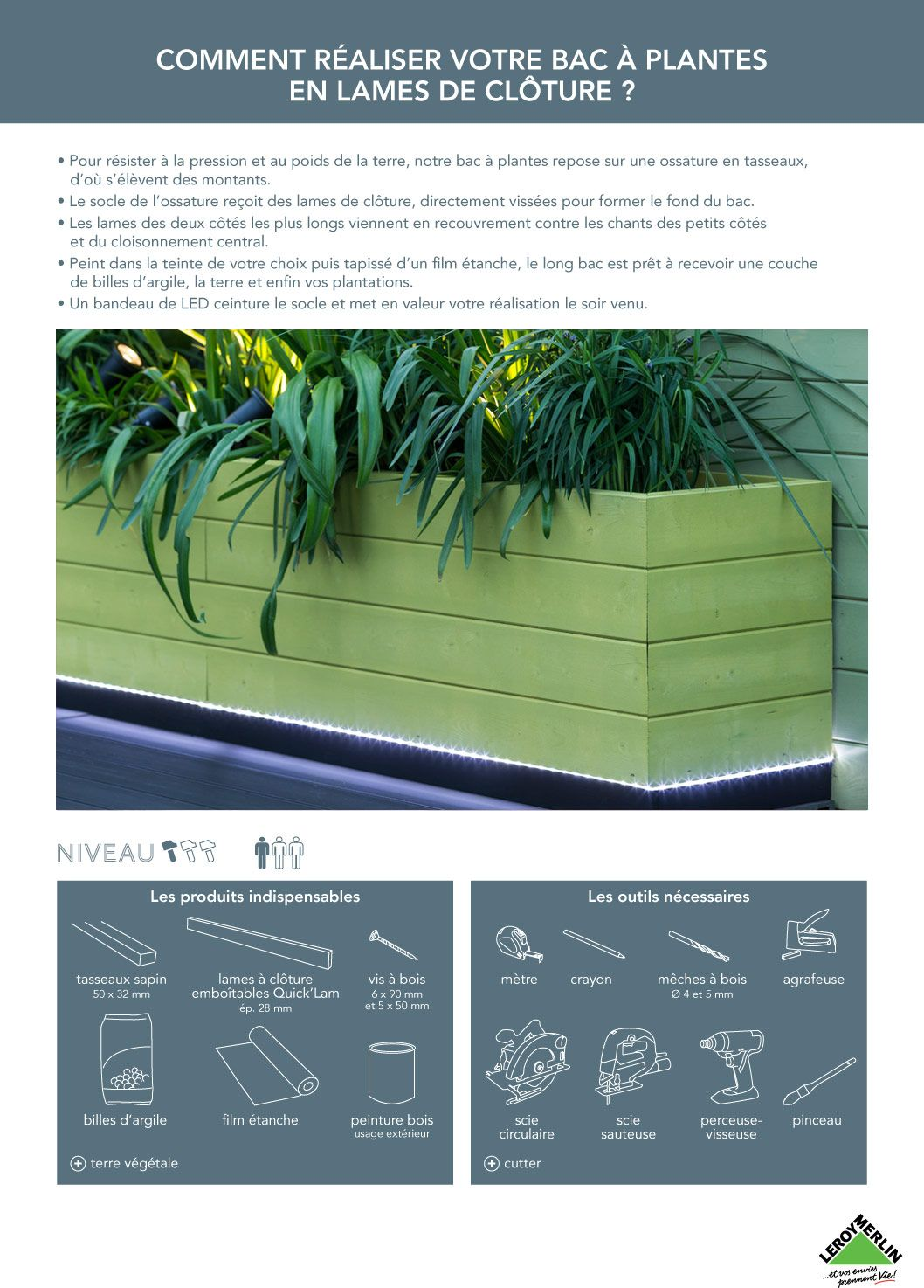 Creer Un Bac A Fleurs Avec Des Lames De Cloture Terrasse Jardin Idees Jardin Et Jardiniere En Bois