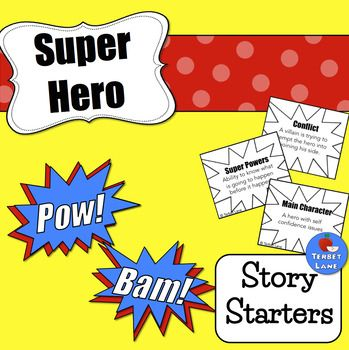 """Creative writing prompt cards make writing fun!How many times have you heard """"I don't know what to write.""""?With creative writing, many students struggle with where to begin. Story starters can help!Students construct their story choosing one card from each category - Main Character, Super Powers, and Conflict."""