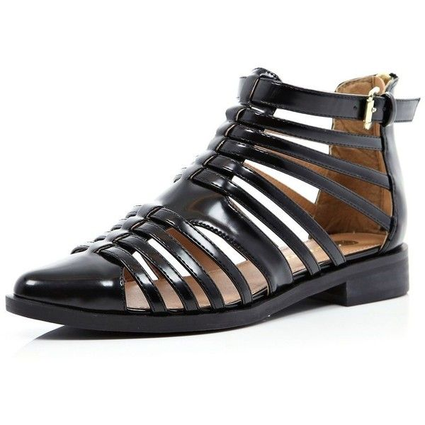 31b2298e0827 River Island Black patent closed toe gladiator sandals ( 57) found on  Polyvore featuring women s