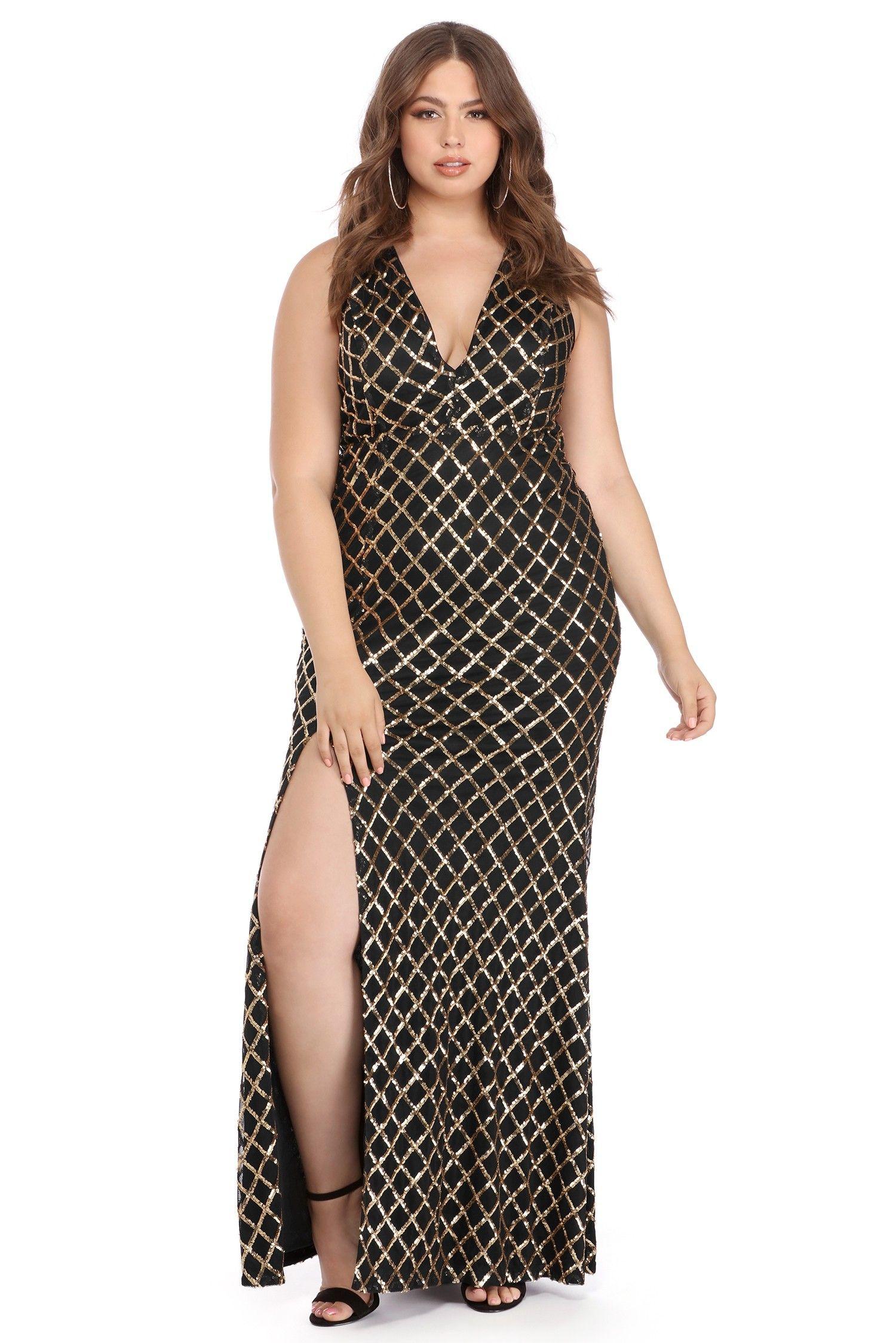 Plus Angelina Black Diamond Sequin Dress Windsor Plus
