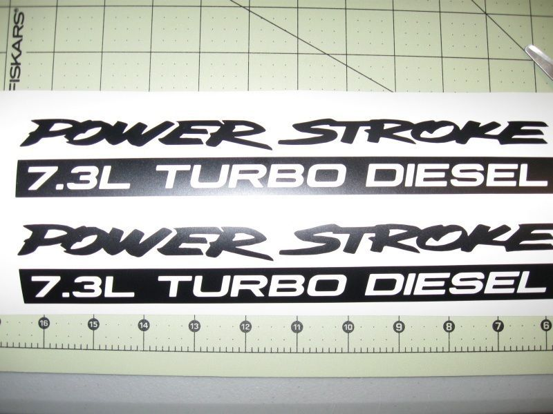 Pair L PowerStroke Turbo Diesel Engine Vinyl Decals Ford F - F250 decals