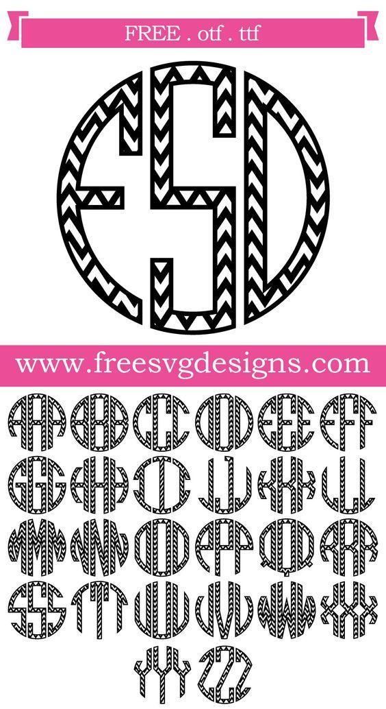 K Monogram Svg Free : monogram, Files, Chevron, Round, Monogram, Cricut, Monogram,, Fonts,, Fonts