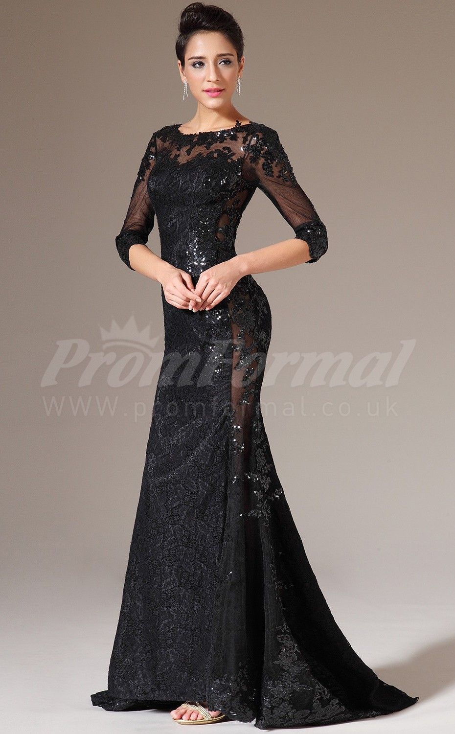 Black Lace Prom Dresses:Black Lace Mermaid Long Prom Dress with ...