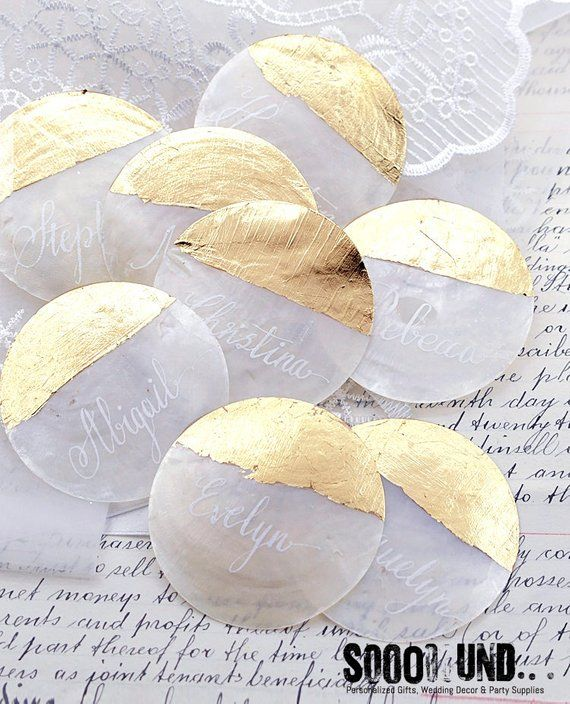 Capiz Shell Wedding Place Card, Shell Place Card, Personalized Calligraphy, Name Place Setting, Natural Seashell Beach (SPC)