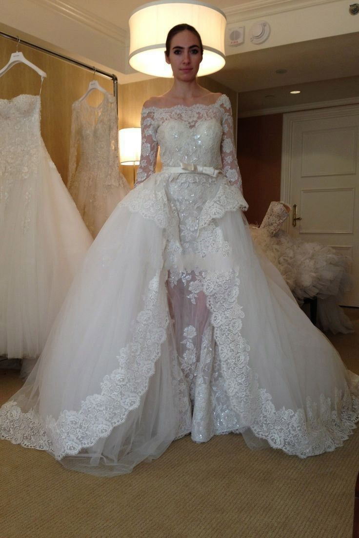 Ball gown wedding dress with three quarter