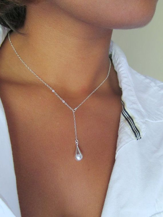 55213bb4e Sterling Silver Teardrop Lariat Tiffany Style Drop by TheDirection, $32.00