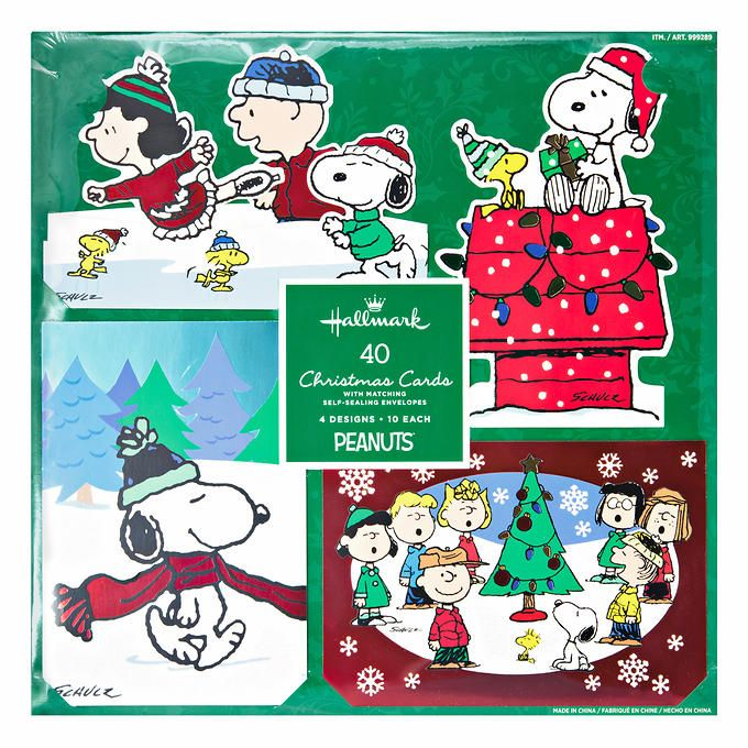 Hallmark peanuts traditional christmas cards with foil and glitter accents and matching envelopes 40 count 40 holiday cards peanuts theme