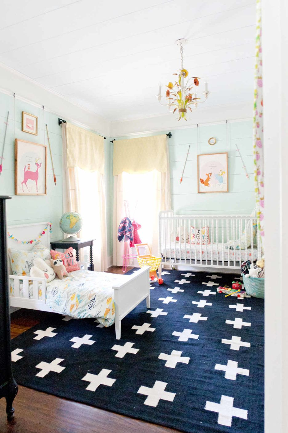 Ikea Shared Kids Bedroom Ideas With Wooden Single Ikea Toddler Bed