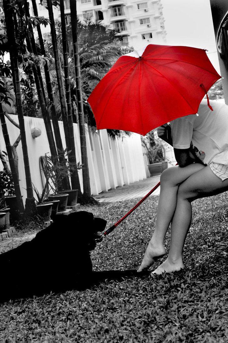 Red Umbrella Under My Accents Black White