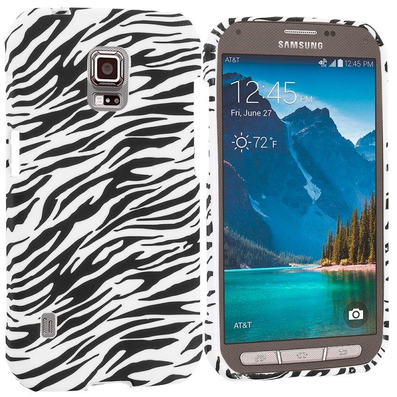 Samsung Galaxy S5 Active Black White Zebra TPU Design Soft Rubber Case  Cover Angle 1 4ed4543c57d