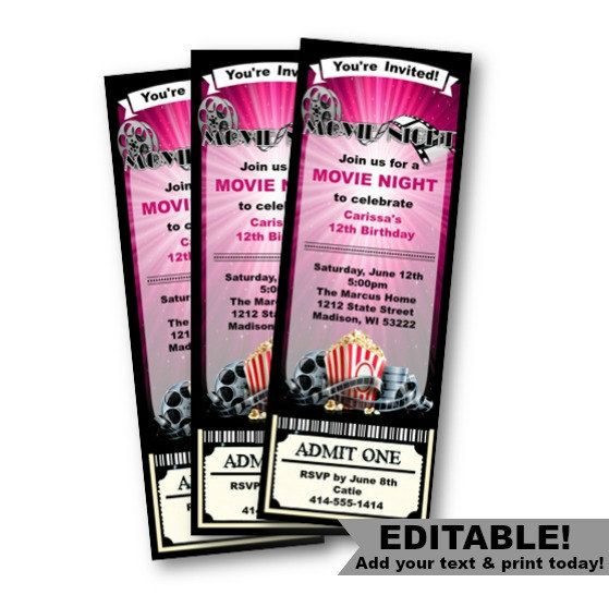 movie ticket invitation birthday movie night girl by