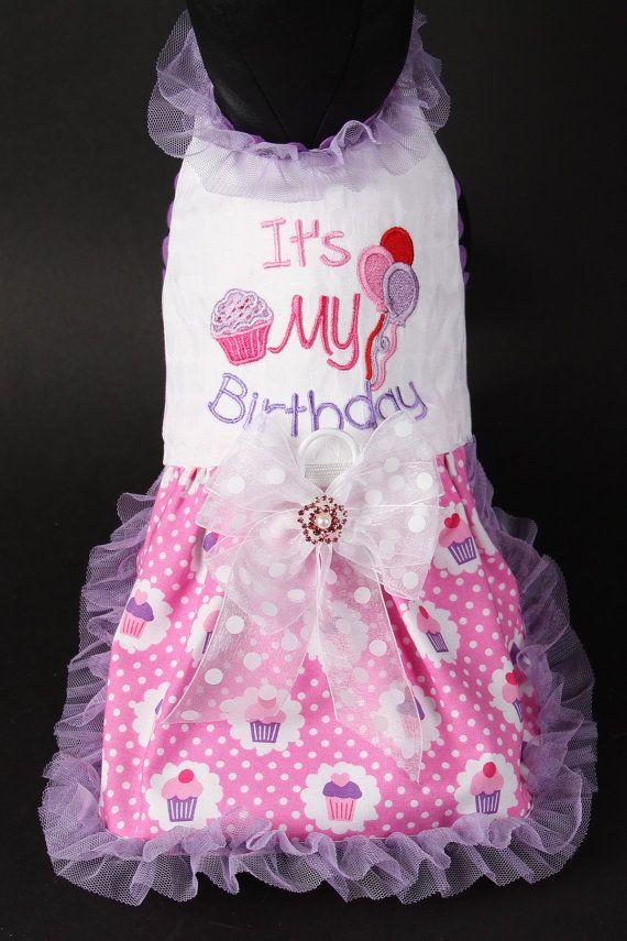 It's My Birthday Dog Dress by JustForBella on Etsy, $120.00