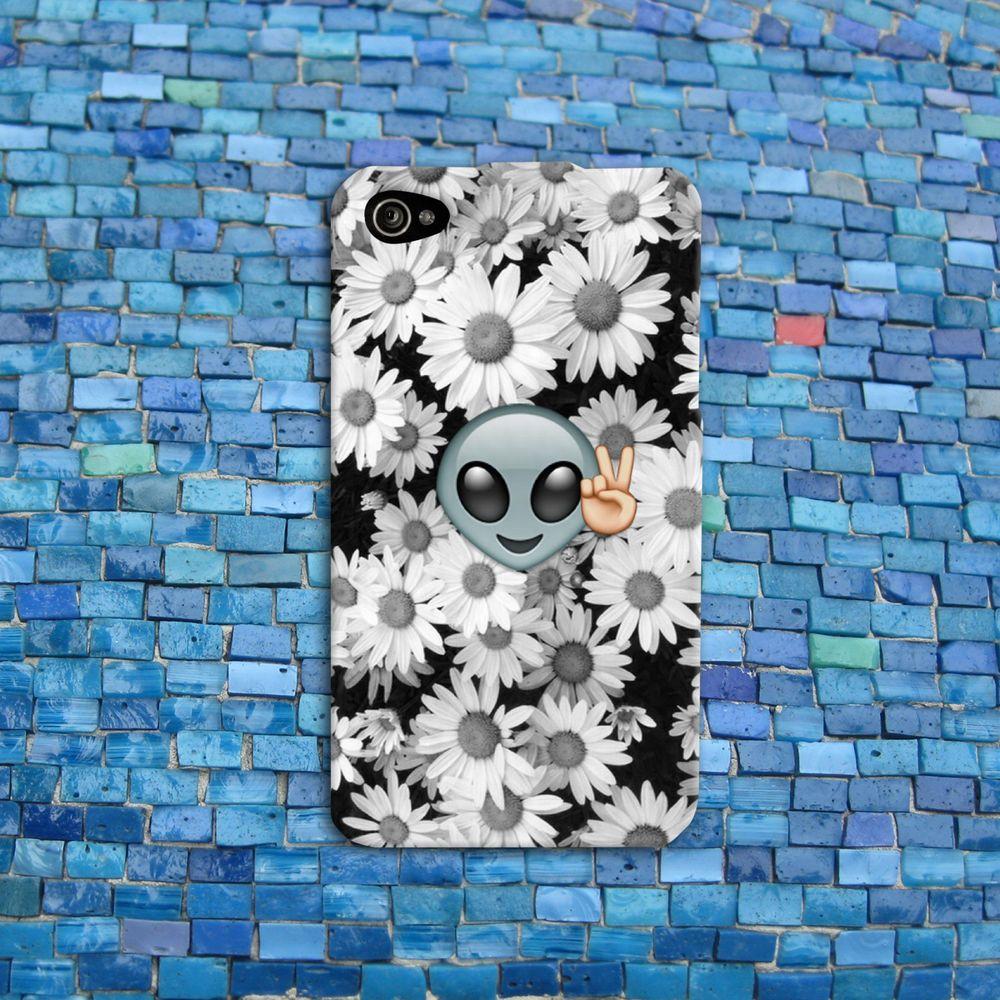 Funny Alien Peace Emoji Daisy Flower Cute Case iPhone iPod