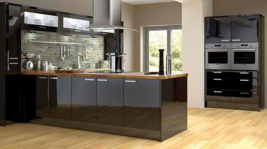 Modern Kitchen With Shiny Black Cabinets House Design Kitchen Black Kitchens Kitchen Design
