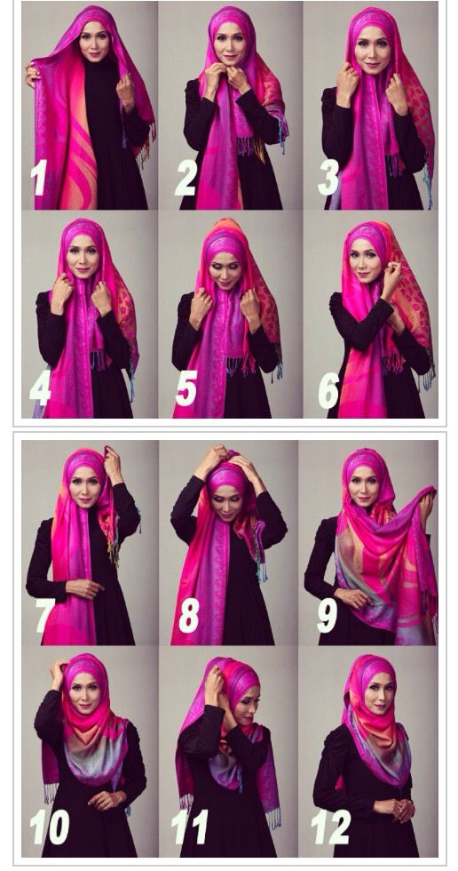 Step By Step Hijab Style Hijabs Pinterest Hijab Tutorial