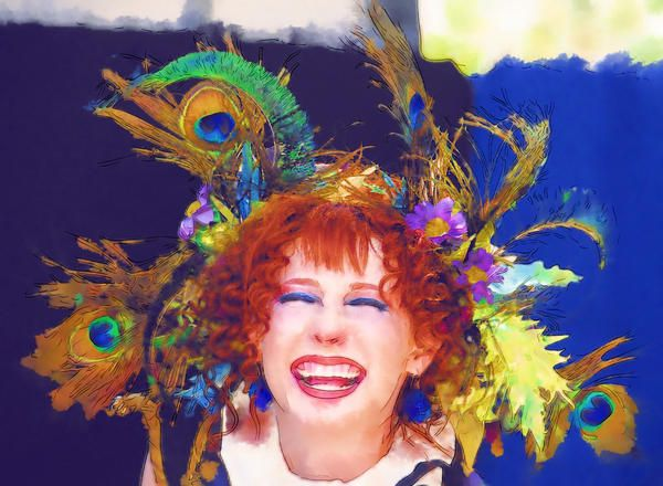 Image detail for -... Feathers Painting - Happy Woman with Peacock Feathers Fine Art Print