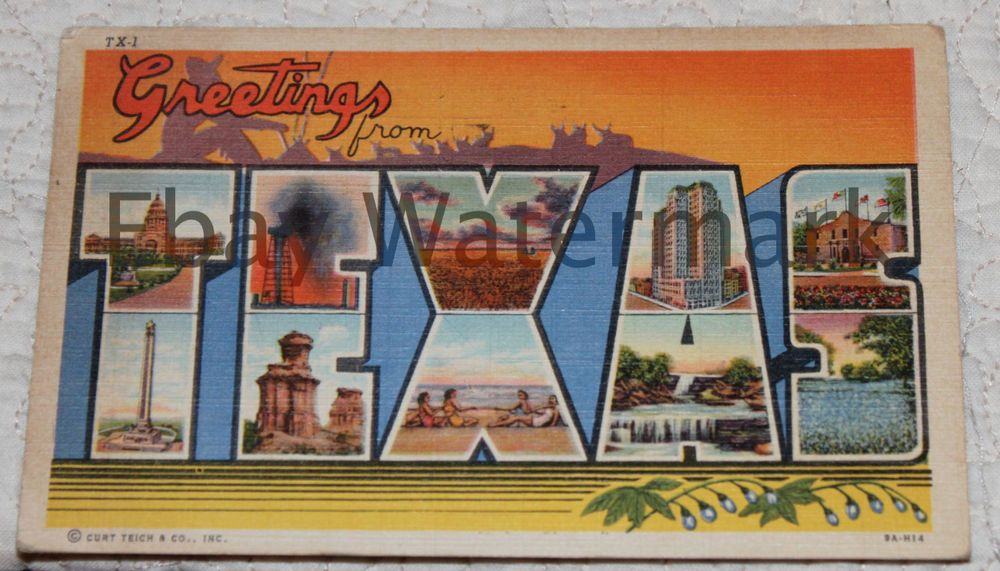 Vintage TEXAS GREETINGS FROM Large Letter Greetings Postcard - letter greetings