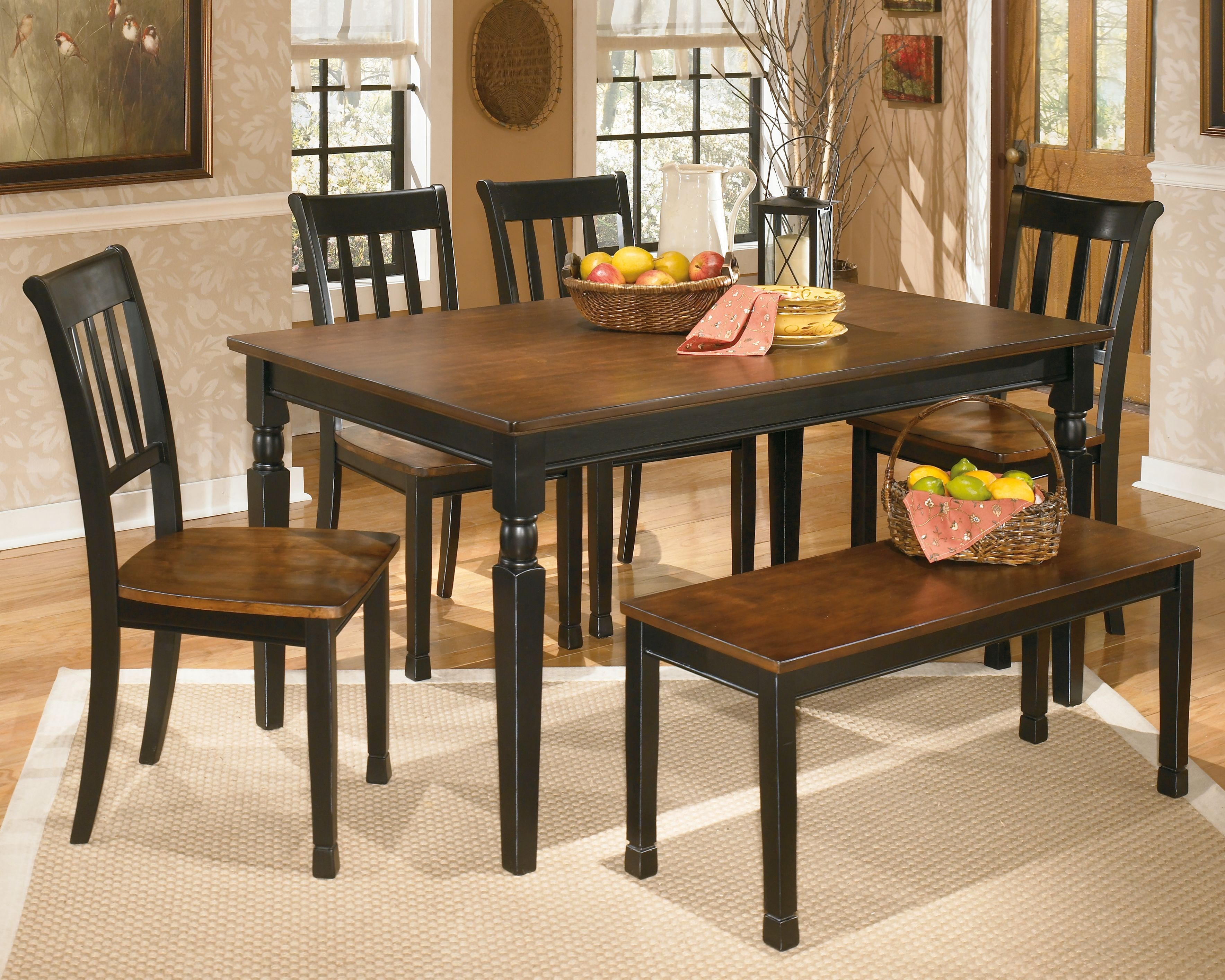 Owingsville Dining Table And 4 Chairs And Bench Ashley Furniture Homestore Rectangular Dining Room Table Side Chair Dining Room Dining Set With Bench