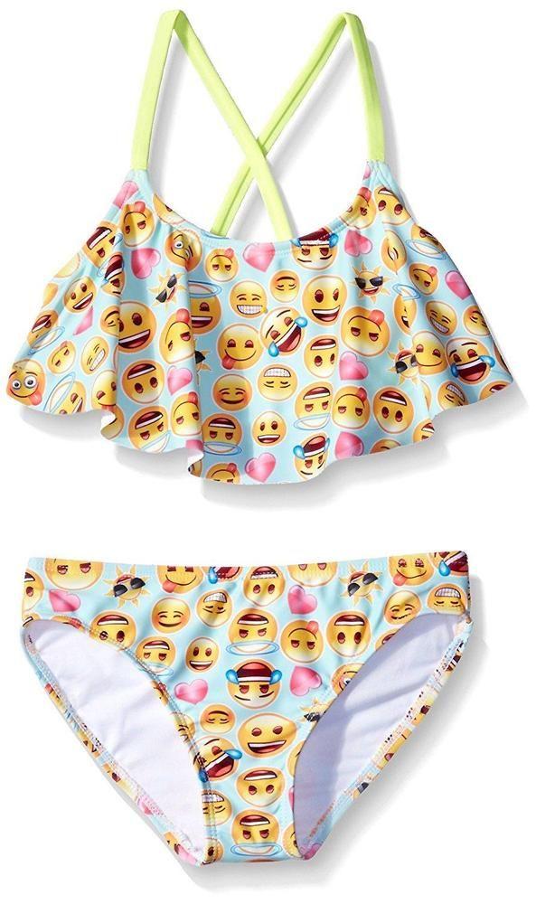 a108425688fff Girls Bikini Size 14 Two Piece Swimwear Beach Smileys Kids Youth Emoji Pool  New  Freestyle