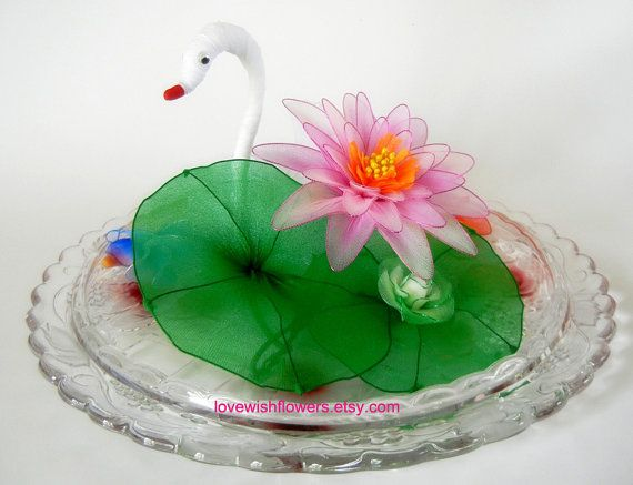 Pink white Lotus and Vintage Inspired white ivory swan. Handmade by Nylon floral…