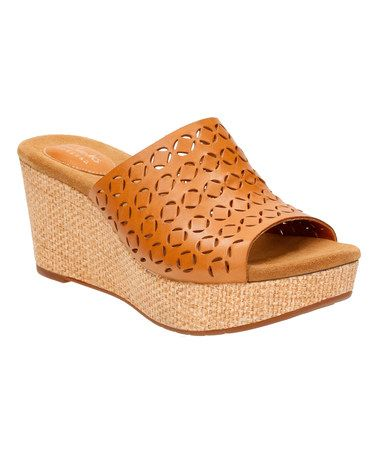 Cute AND Comfy...it doesn't get much better than this! Tan Caslynn Dylan Leather Platform Sandal #zulilyfinds