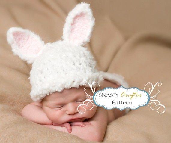 Baby Hat Pattern, Crochet Newborn Bunny Pattern \