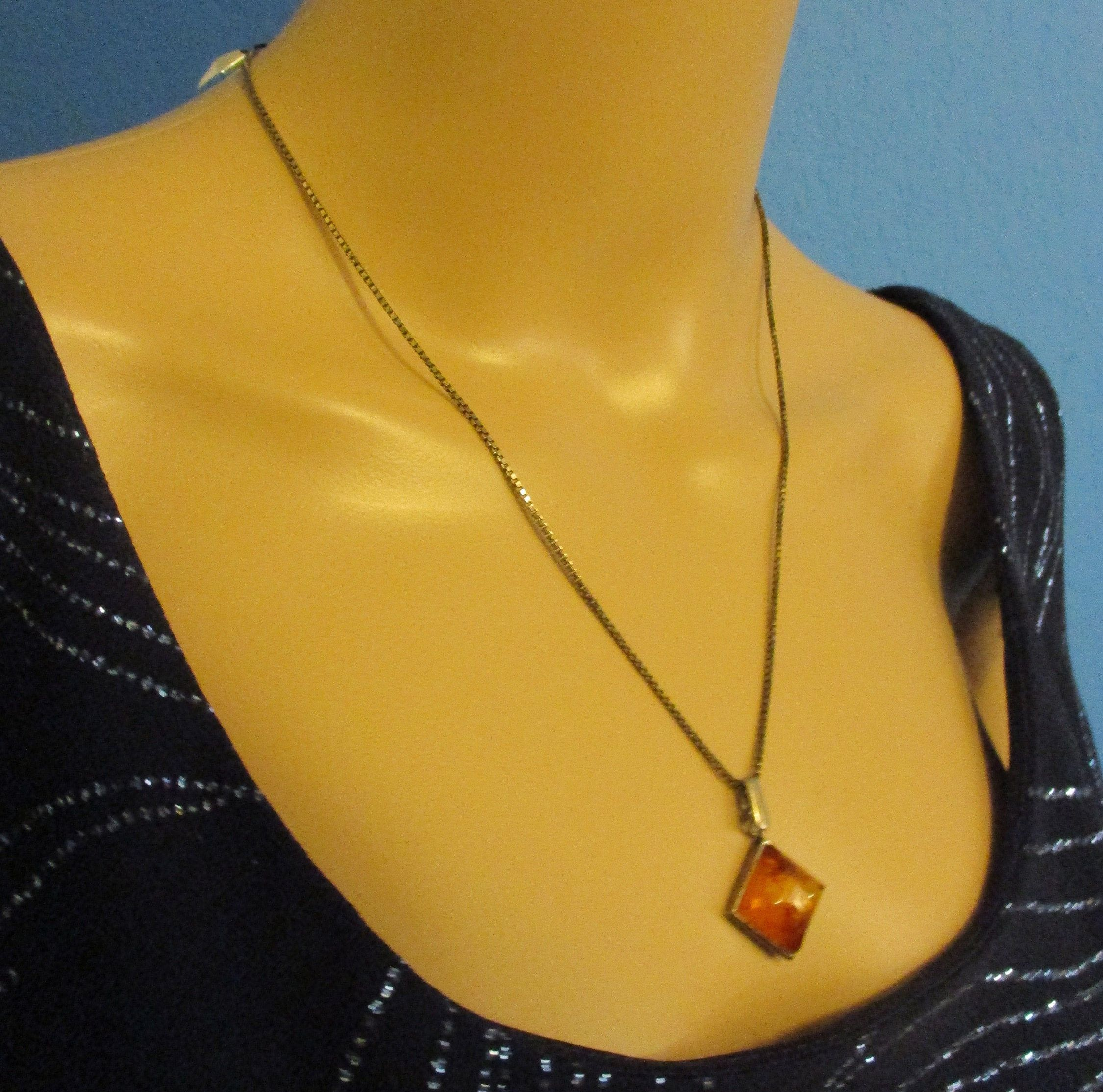 sterling silver necklace with natural Baltic amber