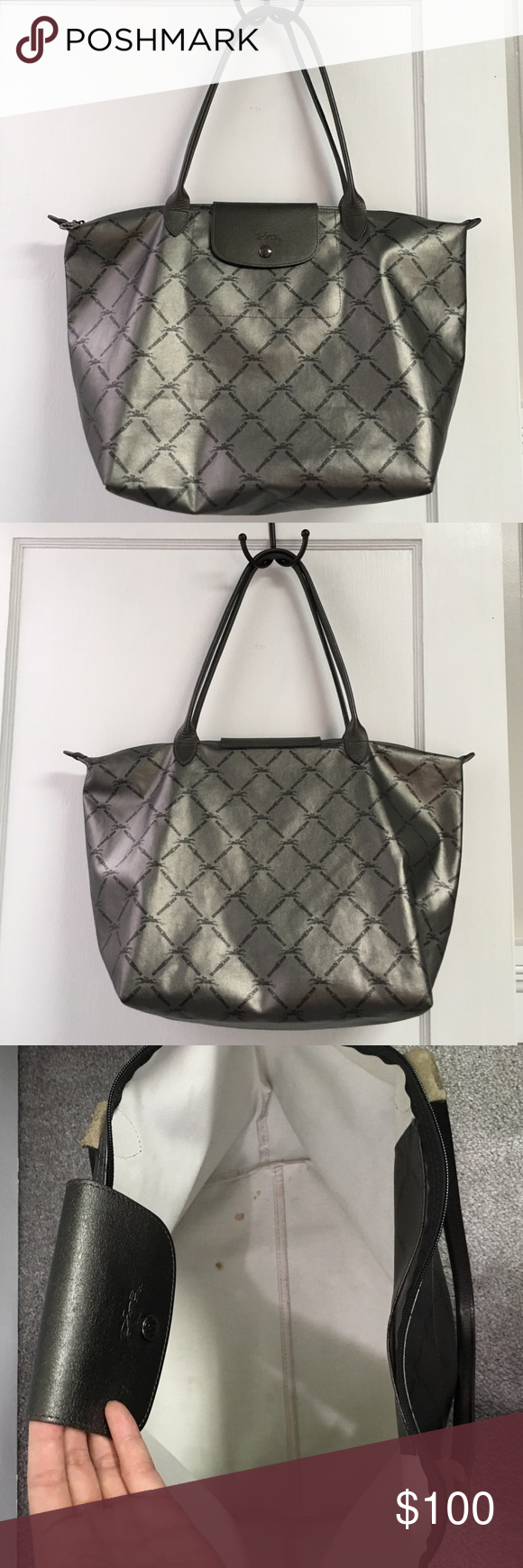 ✨1 Day Sale✨Authentic Large Longchamp Authentic large metallic gray Longchamp. This bag has been gently carried over the years & is still in great condition. The corners only show slight wear & the subtle reflectiveness of the bag conceals wear on the outside well (which is minimal anyway). There are a few coffee marks on the interior, but aside from that it's clean & has been well cared for. Pls note this style does not fold up but is still soft & moldable & extra lightweight- making…