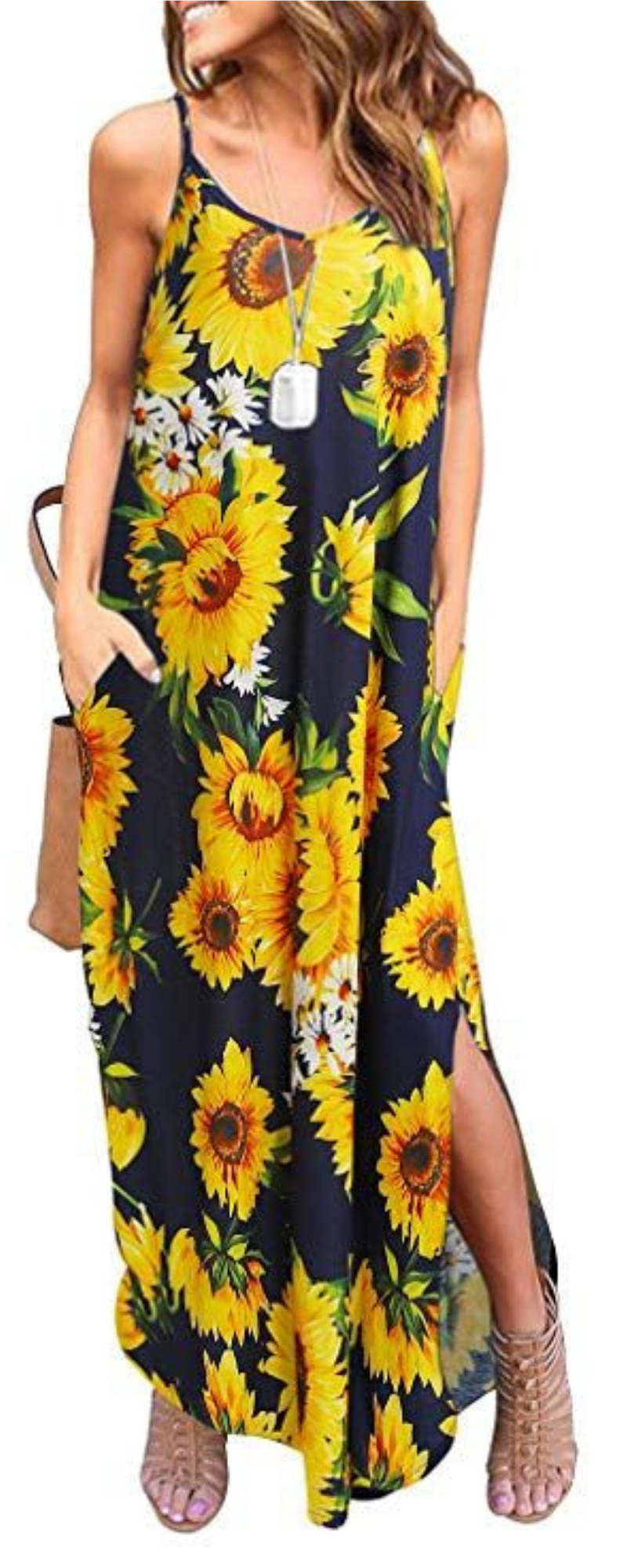 women's summer casual pockets strappy long dress loose beach
