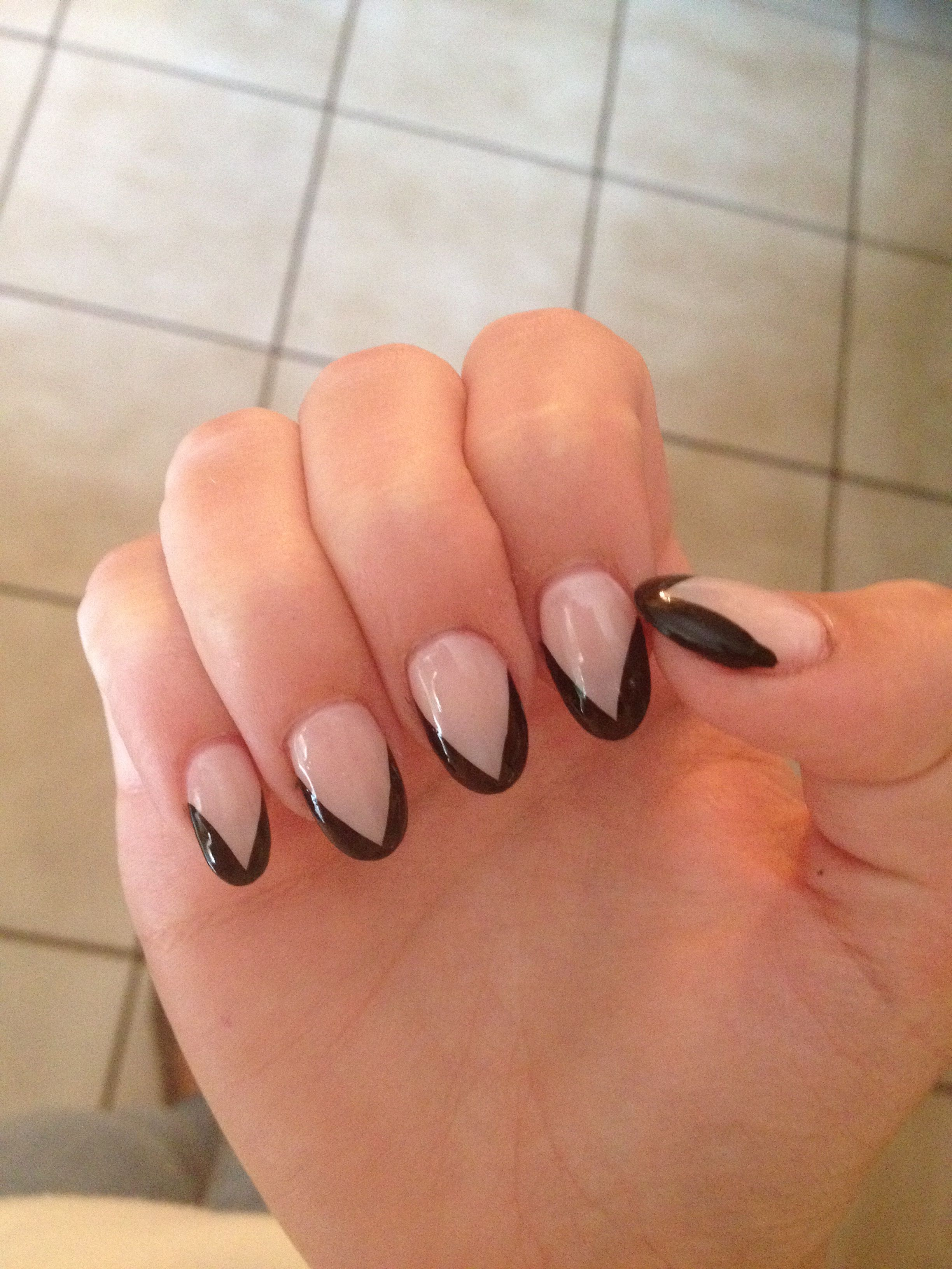 Black French Tip Almond Acrylics Nails Hand Candy Black French Tips