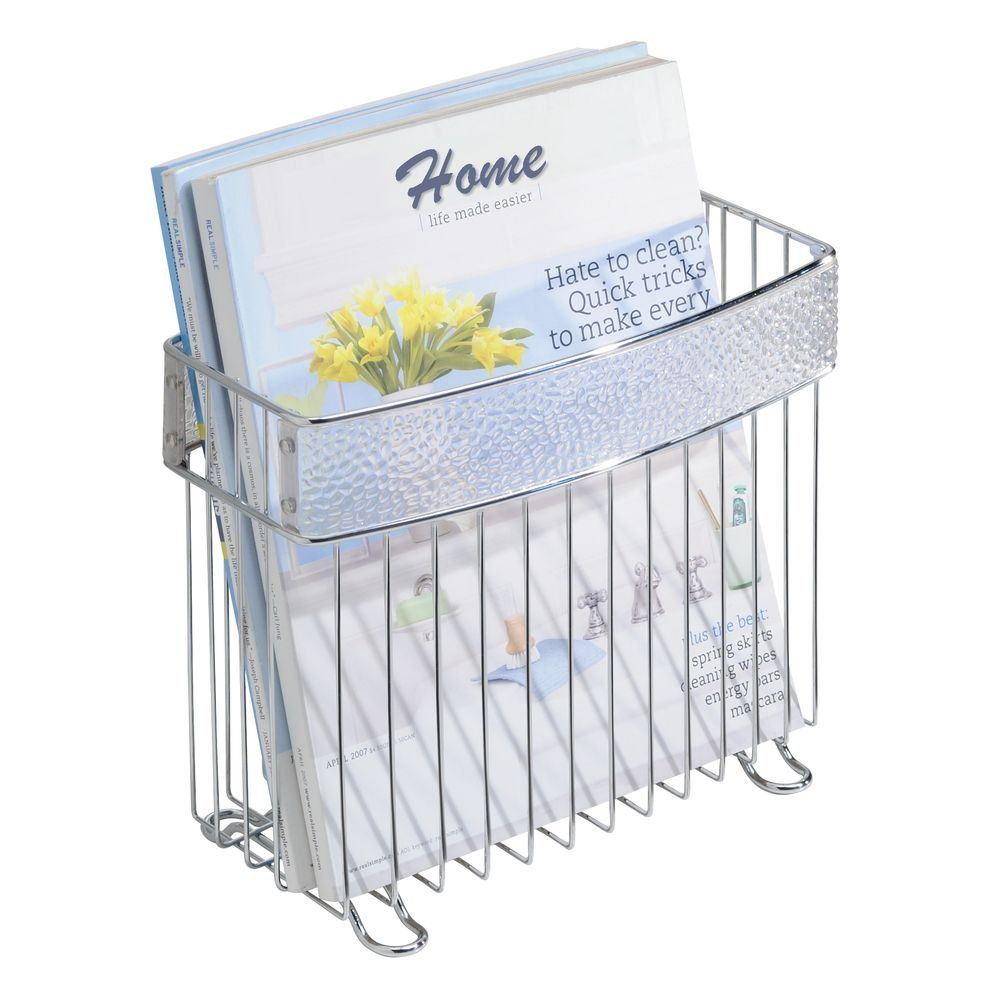 Mdesign Newspaper And Magazine Holder For Bathroom Office Den Clear Chrome Click Image To Review More Detail Magazine Holders Amazing Bathrooms Interdesign