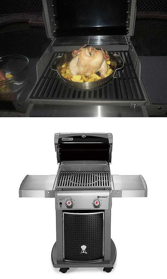 that 39 s the weber spirit e 210 propane gas grill in action with the optional poultry roaster. Black Bedroom Furniture Sets. Home Design Ideas