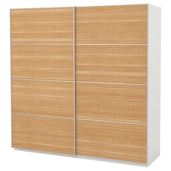 PAX Kleiderschrank weiß, Fjellhamar Bambus dunkel IKEA